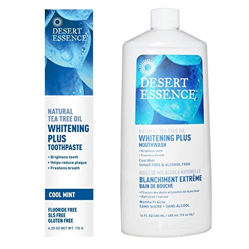 Desert Essence Natural Whitening Plus Tea Tree Oil Bundle - 1 Unit of 6.25 Ounce Toothpaste & 16 Fl Ounce Mouthwash - Refreshing Taste - Promotes Healthy Mouth - Complete Oral Care