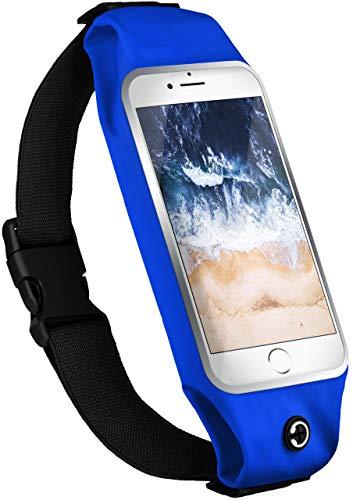 moex® Handy Laufgürtel kompatibel mit ZTE Blade A5 (2019) | Handytasche Sport Gürtel Joggen Lauftasche frei verstellbar mit Sichtfenster - Fitness Laufen, Blau