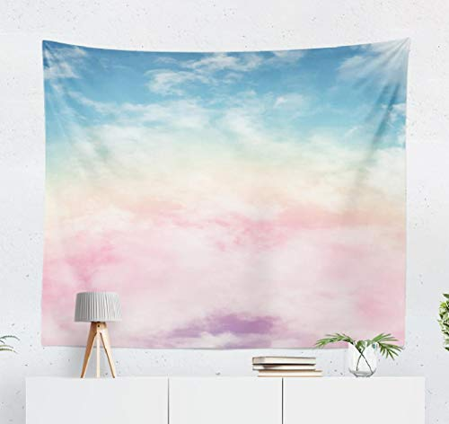 KJONG Sun and Cloud with Pastel Cloud Candy Color Pastel Sunset Pink Abstract Cotton Fantasy Rainbow Sky Gradient Art decorative Tapestry,60X60 Inches Wall Hanging Tapestry for Bedroom Living Room