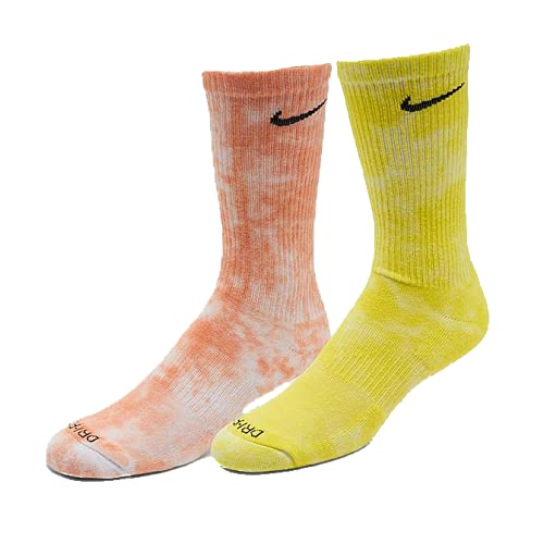 Tie Dye Nike Dri-Fit Crew Calcetines - Rojo Azul / Verde Zafiro / Amarillo Naranja - naranja - Large