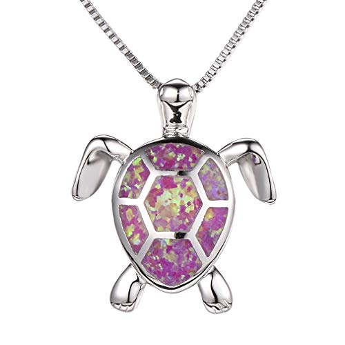 Health and Longevity Sea Turtle Birthstone Jewelry Sterling Silver Created Blue Opal Sea Turtle Earring Rings Pendant Necklace Length 18-20 inch (Pendants -D)