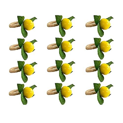 ABCABC Simulazione Limone pianta tovagliolo Anello Frutta pasto Fibbia alberghiera Modello Modello tovagliolo Anello (Color : Yellowgreenbrown)