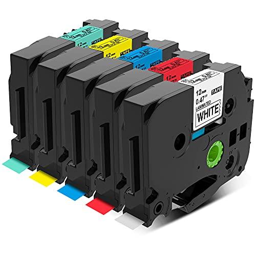 Nastro per Etichette Wonfoucs Compatibile In sostituzione di Brother P-touch TZ 12mm x 8m Usato per Brother PT-H105 PT-H100 PT-1005 PT-1000 PT-1010 PT-1080(Nero su Bianco/rosso/blu/giallo/verde)