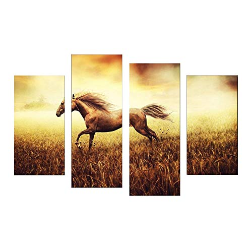 SailorMJY Canvas Wall Art, Foto's Print Op Doek, Paard in het veld 4 panel muur kunst schilderen familie gang kantoor woonkamer slaapkamer wanddecoratie schilderij geen frame