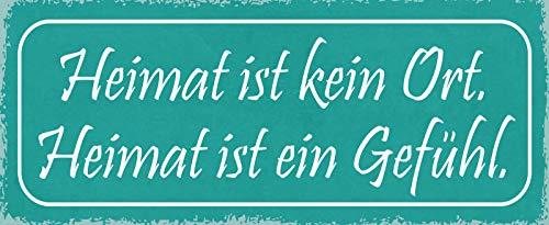 Deko7 blikken bord 27 x 10 cm Spreuk: Heimat is geen plaats. Thuis voelt een gevoel