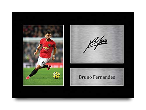 HWC Trading Bruno Fernandes Manchester United Man Utd Gifts Printed Signed Autograph Picture for Fans and Supporters - A4