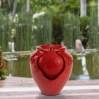 Pure Garden 50-LG1185 Jar Fountain – Indoor or Outdoor Ceramic-Look Glazed Pot Resin Water Feature with Electric Pump and LED Lights (Imperial Red)
