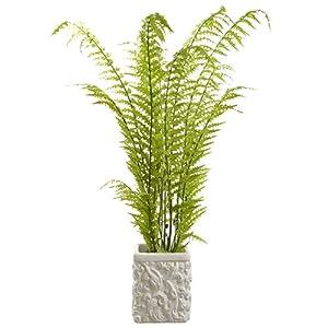 "Silk Flower Arrangements 4'7"" Tall Silk Fern Plant w/Baroque Pot -Green"