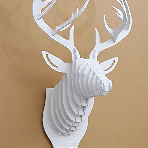 YB&GQ Creativo Decorazioni Murali,Animale Ornamento Testa di Cervo Trofeo Legna Tassidermia 3D Arte Puzzle,Grande per Bambini Sviluppo di Intelligenza-Bianca 64x47cm(25x19inch)