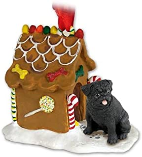 Conversation Concepts Pug Gingerbread House Ornament - Black
