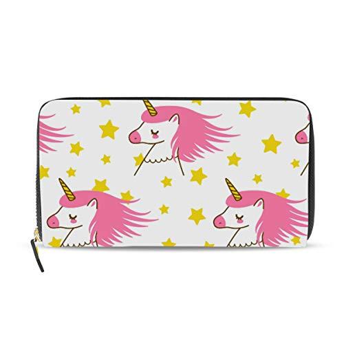 Ahomy Womens Zipper Wallet Cute Cartoon Unicorns PU Leather Ladies Long Wallet Purse Coin Clutch Bag