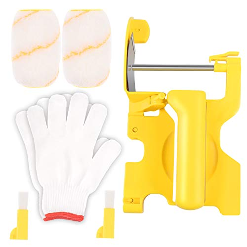 OBANGONG Paint Edger Roller Brush,Hand-Held Paint Roller Brush Kit Multifunctional Clean Edge Corner Paint Roller Brushes with A Pairs of Gloves,for Indoor and Outdoor Wall Painting