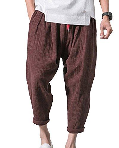ShiFan Pantaloni di Lino Uomo Baggy Casual Pantalone Pinocchietti con Tasconi caffè XS