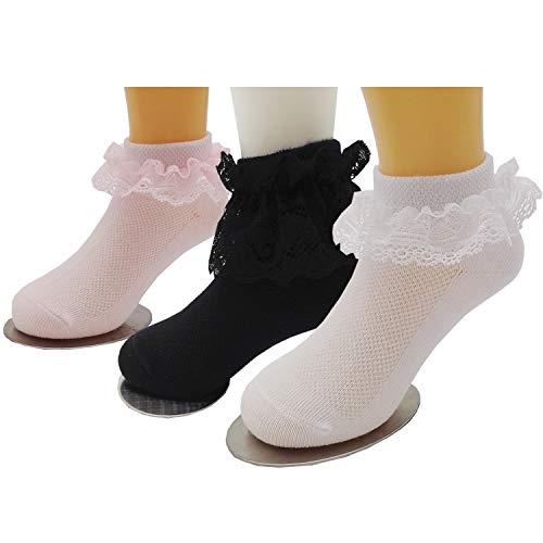 Xiyadun Girls Ruffle Lace Eyelet Frilly Ankle Dress Socks for Infant/Toddler/Girl(Black,White,Pink,3-5 Years)