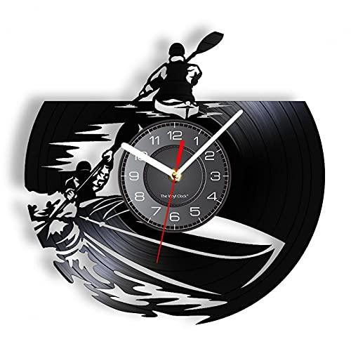 Reloj de Pared de Barco de remos de Vinilo Real Reloj de Deportes acuáticos con luz de Noche LED, un Regalo para los Amantes de los Barcos