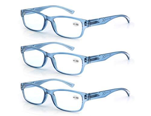 Un Pack de 3 Gafas de Lectura 1.5/Gafas para Presbicia Hombre Mujer,Buena Vision Ligeras Comodas,Vista de Cerca/Vista Cansada,Colores Azul