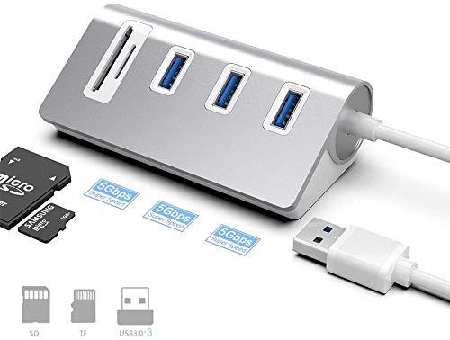 USB 3.0 Hub- und SD-Kartenleser-Kombination, 5-in-1-Multifunktions-USB-Hub-Adapter aus Aluminiumlegierung mit 3 USB 3.0-Anschlüssen und SD- und TF-Steckplätzen, kompatibel mit Windows/Mac/Linuxv