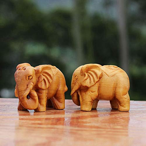 MMLUCK Elephant Animal Statues Wood Carving Elephant Crafts Home Sculpture Ornaments Antique Decoration