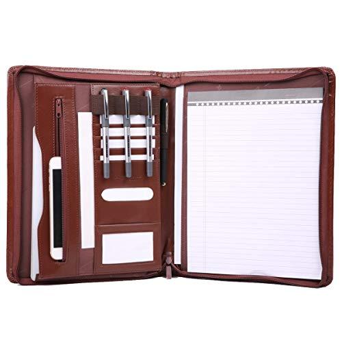 Leathario Marca de Portafolio/ Carpeta Plegable de Mano  PU, Diseñado para Negocios y para tomar notas (Marrón-A4-3)