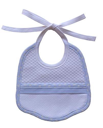 FILET AMS1013B Babero con encarte de Tela Aida, Azul, 1 Unidad (Paquete de 1) para Bebés