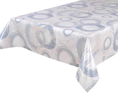 BEAUTEX Wachstuchtischdecke Wachstuch Tischdecke abwischbar ECKIG RUND OVAL, Motiv und Größe wählbar (Motiv: Circle blau, Eckig 140x260)