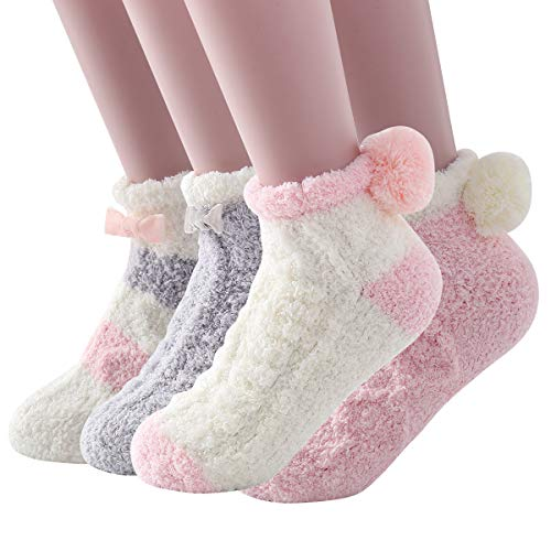 Skola Super Soft Cozy Winter Warm Slipper Socks Womens Anti Slip Grip Fuzzy Pom Pom Socks 4...