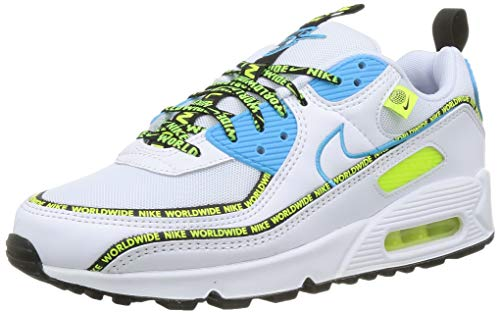 Nike Air MAX 90 SE, Zapatillas para Correr Hombre, White Blue Fury Black Volt, 41 EU