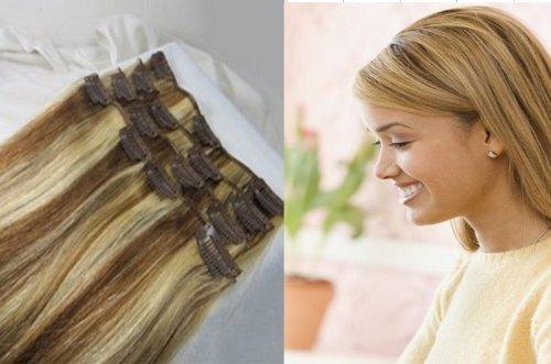 66 cm 160 g 10 pièces droites soyeuses à clips en cheveux humains # 8/613 mixte Marron clair & blond platine