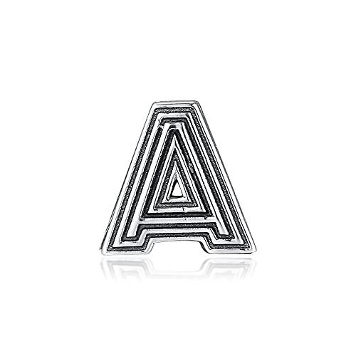 LIIHVYI Pandora Charms para Mujeres Cuentas Plata De Ley 925 Letra A Clip Reflexions Jewelry Compatible con Pulseras Europeos Collars