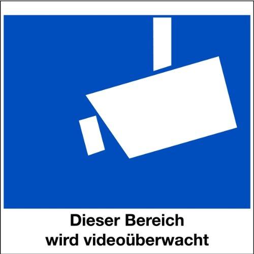 Aufkleber Dieser Bereich wird videoüberwacht, für Glasscheiben 80x80mm