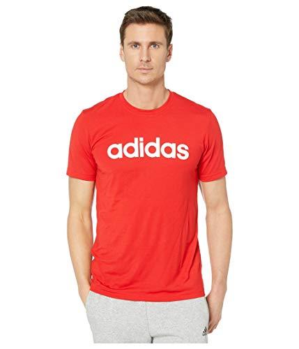 adidas Herren T-Shirt mit 2 Move Clima Soft Logo, Herren, kurzärmelig, Mens D2m Clima Soft Logo Tee, Dunkelrot/Weiß, Large
