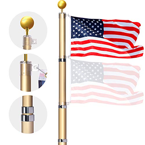 WinisKi Telescoping Flag Pole 20ft Brown, Outdoor Heavy Duty Adjustable Height Aluminum Telescopic Flagpole Kit, Golden Ball Topper, 3x5 USA Flag, Tangle Free Fly 2 Flags, Residential or Commercial