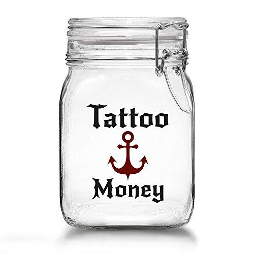 Tattoo Spardose - Spare Geld für Dein Nächstes Tattoo - Tattoo Money Sparbüchse aus Glas mit Bügelverschluss (Tattoo Money - Anker)
