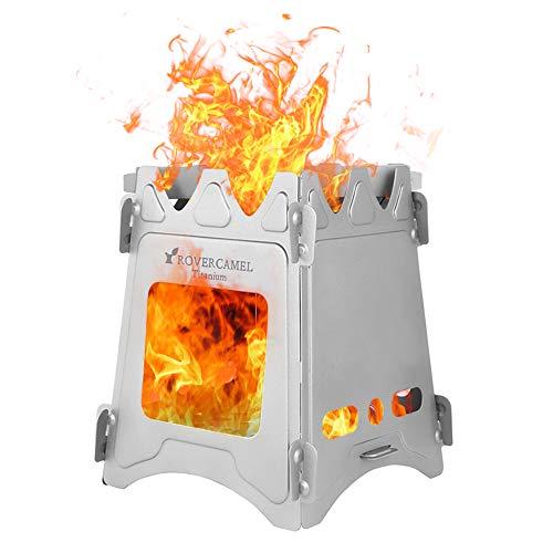 LIXADA バーベキューコンロ 焚き火台 折りたたみコンロ チタン製 キャンプストーブ 薪ウッドストーブ 燃料不要 組立簡単 コンパクト 軽量 アウトドア キャンプ用 収納袋