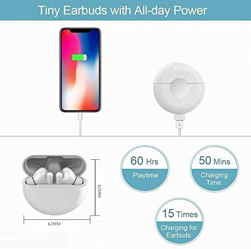 Auriculares inalámbricos Bluetooth, Auriculares Wireless 3D estéreo HD, emparejamiento automático para Llamadas binaurales, con Estuche de Carga portátil, para iPhone/AirPods Pro/Huawei/Freebuds miniatura