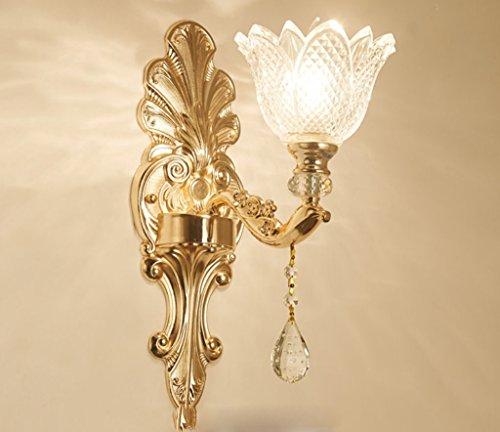 WENMW wandlamp van glas in Europese stijl van smeedijzer, woonkamer, warme tv-achtergrond, muur, slaapkamer, nachtkastje