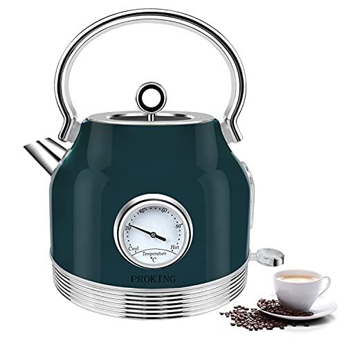 Wasserkocher Edelstahl Retro, Wasserkocher Mit Thermometer 1,7L, BPA frei, Wasser Teekocher mit Kalkfilter Automatische Abschaltung Kochtrockenschutz Vintage Wasserkocher Kabelloser (Grün)