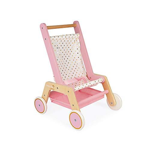 Janod J05890 Candy Chic - Kinderwagen aus Holz für Puppen bis zu 42 cm - 3 Zubehörteile - Puppenzubehör - Ab 18 Monaten