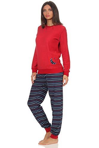RELAX by Normann Damen Frottee Pyjama mit Bündchen - Hose gestreift, Top mit Mond und Stern Applikation, Farbe:rot, Größe2:44/46