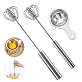 Stainless Whisks, 2 Pieces 10'/12' Hand Push Egg Beater Mixer, Non-Electric Easy Whisk Just Pressing and Whisking Save Much Energy Kitchen Utensil for Blending, Whisking, Beating & Stirring
