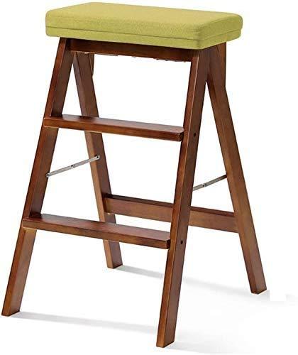 GUOXY Multifunktions Einfache Klapphocker 3 Schritt Hocker Tragbare Umzug Stühle Mehrzweckküchen Hohe Hocker Und Bank Schritte Auf Beiden Seiten Mit Sitzbezug Waschbar,Grün