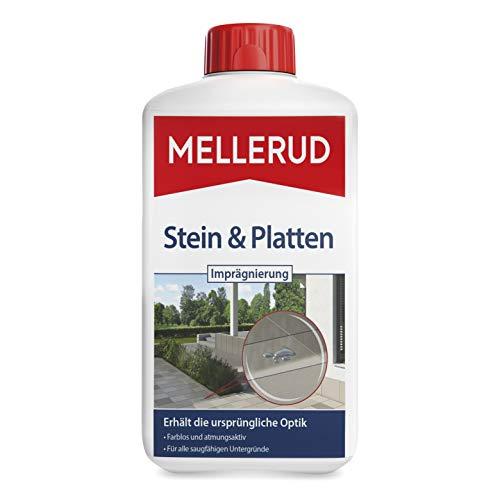 MELLERUD Stein & Platten Imprägnierung – Langanhaltender Schutz vor Schmutz und Nässe von saugfähigen Untergründen im Innen- und Außenbereich – 1 x 1 l