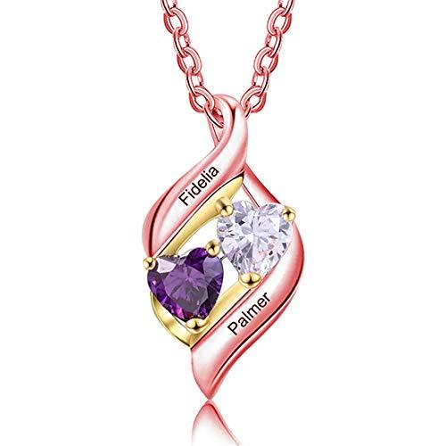 Collar Con Colgante De Aniversario De Plata 925 Para Mujer Collar De Promesa Con Nombre Personalizado Collar De Cumpleaños Para El Día De San Valentín Collar Del Día De La Madre(Oro rosa 22')