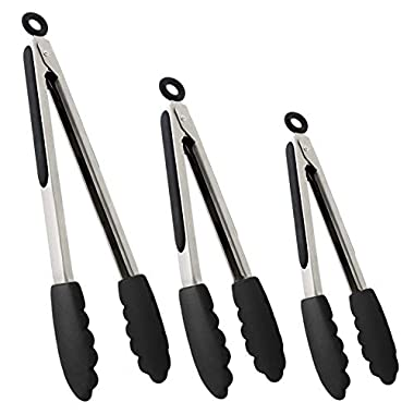 Set of Kitchen Tongs for Cooking or Grilling: Includes 7, 9 and 12 Inch Stainless Steel, Heat Resistant Locking Tongs with Silicone Tips - Perfect for BBQ, Grill or Household Cooking - 3 Pack, Black