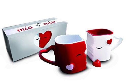 Mia Mio - Kaffeetassen/Küssende Tassen Set Geschenke zur Hochzeit für Frauen/Männer/Freund/Freundin aus Keramik (Rot)