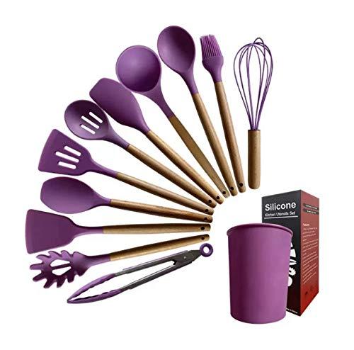 GMG 12 Pieces Wooden Handle High Heat Resistance Premium Silicone Kitchen Utensil Set with Bucket. - BPA Free Spatula Set (PURPLE)