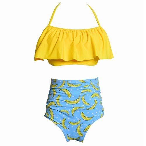 TEYUN Verano de Las Mujeres Buena Elasticidad y rapidez de Secado de la Push Beach Falbala Arriba Rellenado del Vendaje del bañador del Bikini Set (Color : Yellow, Size : S)