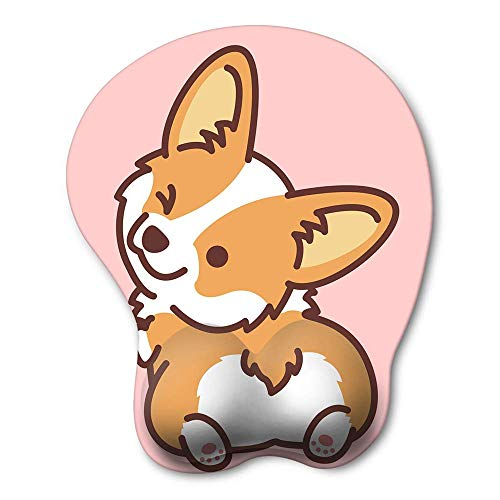 HAOCOO Ergonomic Mouse Pad with Wrist Support ,Non-Slip Backing Corgi Anime Cute Gel Mouse Pad Wrist Rest, Easy-Typing and Pain Relief for Gaming Office Computer Laptop(Pink Cute Corgi)