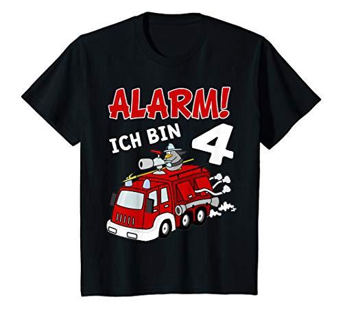 Kinder Kinder Feuerwehrauto T-Shirt 4. Geburtstag Jungen 4 Jahre T-Shirt