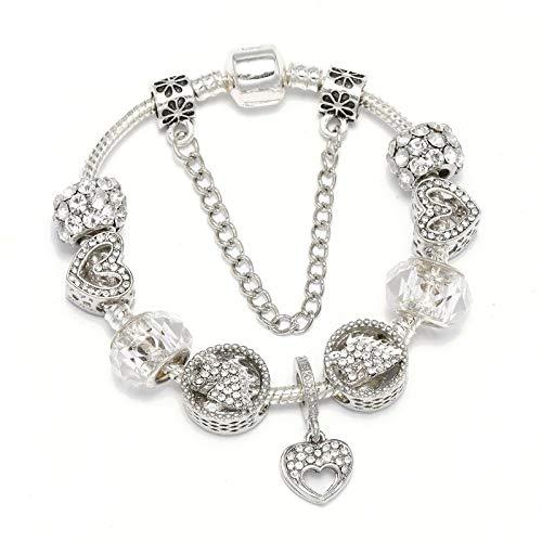 Chapado en plata de cristal corazón encantos se adapta a la pulsera de estilo europeo para las mujeres exquisito regalo de la joyería C01 18cm